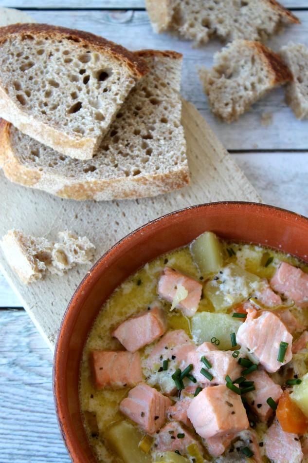 zuppa di salmone e patate